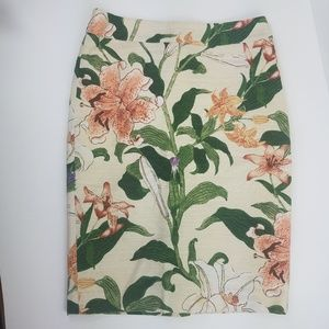 Ann Taylor Cotton Floral Lily Pencil Skirt